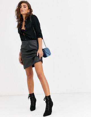 Object leather mini skirt-Black