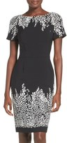 Adrianna Papell Placed Print Stretch Sheath Dress (Regular & Petite)