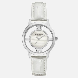 Kenneth Cole White Leather Strap With Stone Accents
