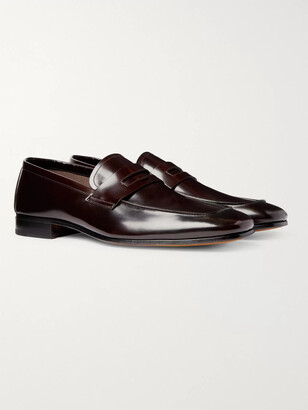 Tom Ford Midland Spazzolato Leather Penny Loafers - Burgundy