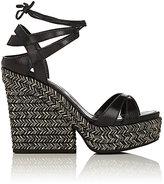 Sergio Rossi Women's Bilbao Leather Ankle-Tie Platform Sandals
