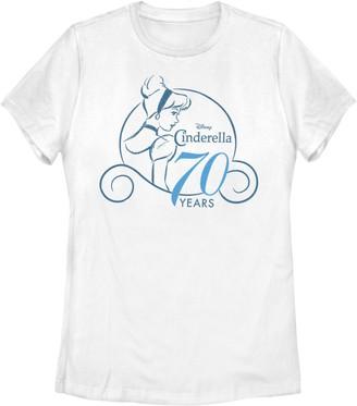 Licensed Character Juniors' Disney's Cinderella 70th Anniversary Simple Logo Tee