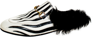 Gucci White/Black Leather And Fur Princetown Horsebit Loafer Slides Size 38