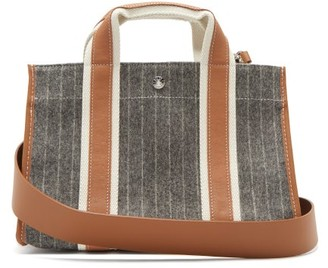 Rue De Verneuil - Upper East Small Pinstriped Wool-blend Tote Bag - Grey Multi
