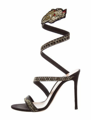 Gianvito Rossi Dragon Opera Printed Gladiator Sandals Black