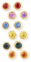 Jean Mahie 22K Mixed Sapphire Bezel Stud Earrings, Set of 6