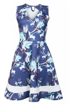 Quiz Navy And Cream Floral Print Keyhole Skater Dress