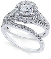 Macy's Diamond Halo Bridal Set (1-3/4 ct. t.w.) in 14k White Gold