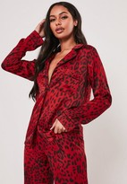 Missguided Red Leopard Satin Piping Detail Pyjama Shirt
