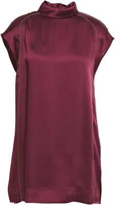 Brunello Cucinelli Draped Bead-embellished Satin Blouse