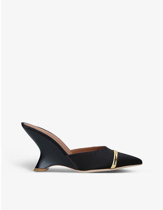 Malone Souliers Marilyn satin wedge mules