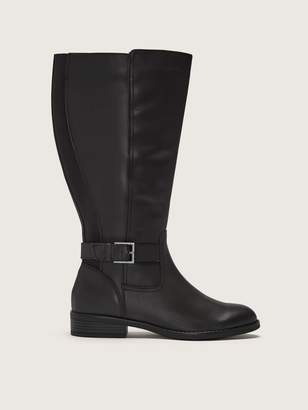 Addition Elle Wide Width Leather Tall Boot with Ankle Buckle