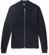 Paul Smith Jersey-Panelled Wool Zip-Up Cardigan