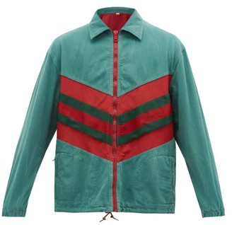 Gucci Web-striped Denim Jacket - Mens - Green Multi