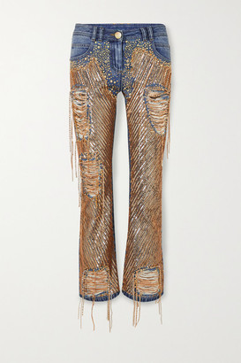 Balmain Embellished Distressed High-rise Straight-leg Jeans - Blue