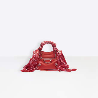 Balenciaga Metallic Edge Mini City Shoulder Bag in red shiny leather, multicolor scarf and semi-shiny palladium hardware