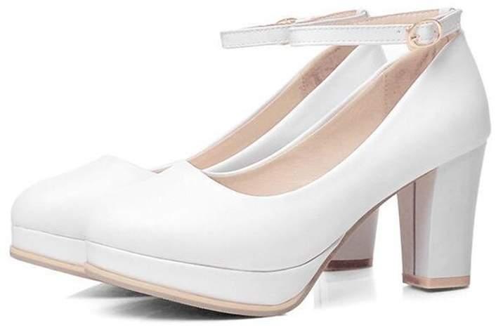 0450372a89941 SUNNY Store Women's Wide Width Heel Pump-Ankle Buckle Strap Heel Close Toe  Stilleto Platform Mary-Jane Shoes (-39/85 B(M) US Women)