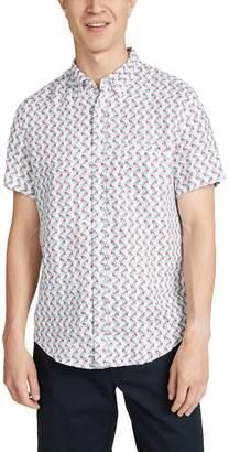 J.Crew J. Crew Short Sleeve Delave Linen Bird Print Shirt
