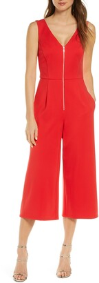 Forest Lily Sleeveless Gaucho Jumpsuit
