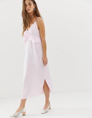 Vero Moda frill detail midi cami dress in pink-Purple
