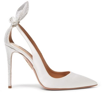 Aquazzura Bow Tie 105 Crystal-bow Satin Pumps - White