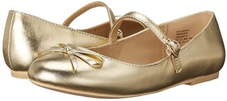 Janie and Jack Ankle Strap Bow Flat (Toddler/Little Kid/Big Kid) (Gold) Girl's Shoes