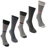 Soviet Mens Contrast Stripe Socks Pack of 5 Casual Accessories