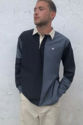 Champion Mixed Panel Rugby Top - Black S at Urban Outfitters