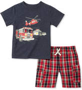 Kids Headquarters 2-Pc. Graphic-Print T-Shirt & Plaid Shorts Set, Toddler Boys