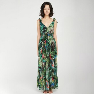 Naf Naf Sleeveless Maxi Dress in Tropical Print