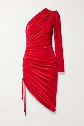 Monse One-sleeve Ruched Velvet Mini Dress - Red