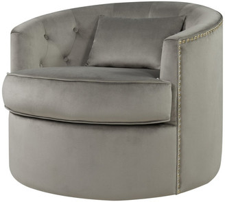 New Pacific Direct Marjorie Velvet Nailhead Tufted Swivel Accent Chair