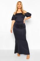 boohoo Plus Puff Sleeve Peplum Maxi Dress