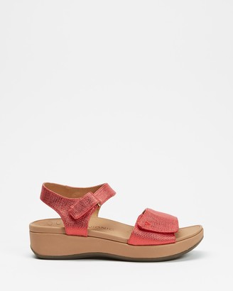 Vionic Women's Red Wedges - Raz Metallic Wedge Sandals - Size One Size, 6 at The Iconic
