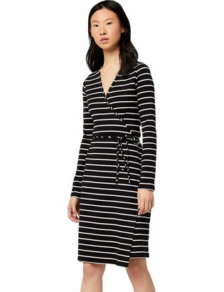 Find. Amazon Brand Women's Stripe Rib Wrap Ls Long Sleeve Dress