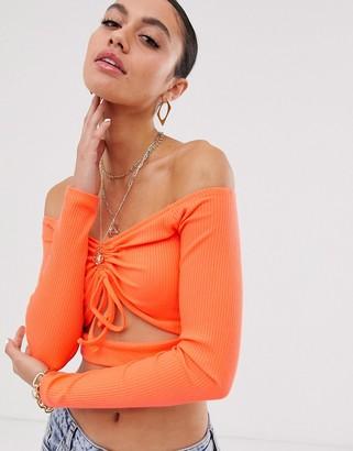 Bardot Asos Design ASOS DESIGN ruched front crop top in rib-Orange