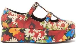 Miu Miu Crackled Flower-print Mary-jane Flatform Pumps - Womens - Multi