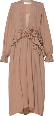 Victoria Beckham Ruffled Silk-Chiffon Midi Dress