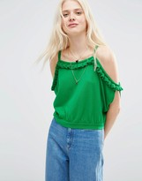 Asos Knitted Top With Ruffle Off Shoulder