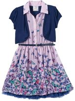 Knitworks Girls 4-6x Short Sleeve Jacket & Butterfly Button-Front Shirtdress with Belt