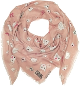 Karl Lagerfeld Quartz Pink Silk-mix Wrap w/Choupette Faces