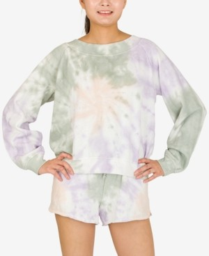 Hippie Rose Juniors' Tie-Dyed Long-Sleeved Sweatshirt