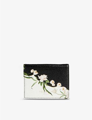 Ted Baker Elderflower floral-print leather card holder