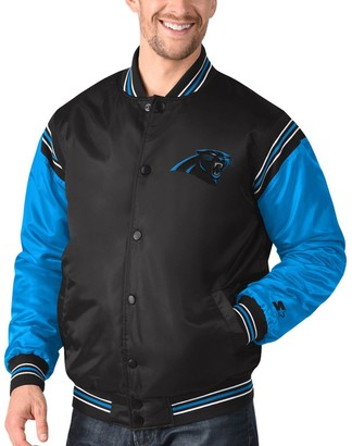 Men's Starter Black/Blue Carolina Panthers Enforcer Satin Varsity Full-Snap Jacket