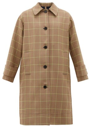 MSGM Prince Of Wales-check Pleated Single-breasted Coat - Womens - Beige Multi