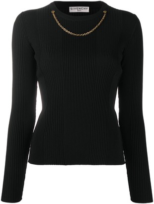 Givenchy Chain-Detail Ribbed-Knit Jumper