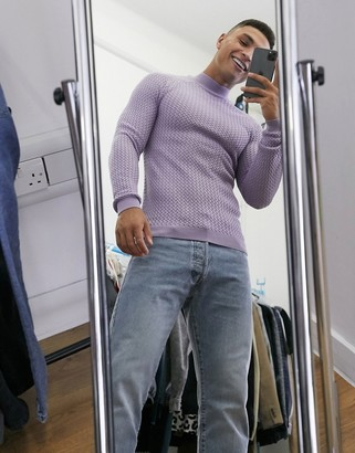 ASOS DESIGN muscle-fit basket stitch turtleneck sweater in lilac