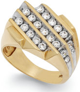Macy's Men's Diamond Three-Row Ring in 10k Gold (1-1/2 ct. t.w.)