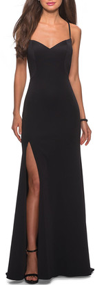 La Femme Sweetheart Cross-Back Jersey Gown with Slit