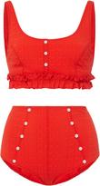 Lisa Marie Fernandez Colby Ruffle High Waist Bikini Set